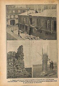 """Bombe Zeppelin Place Cormeille Levallois-Perret / Poilus WWI 1915 ILLUSTRATION - France - Commentaires du vendeur : """"OCCASION"""" - France"""