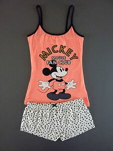 Disney-Mickey-Mouse-Damen-Pyjama-Set-Kurz-Schlafanzug-Shorty-L-42-44-Micky-Maus