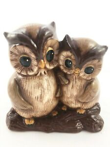 Vintage-Ceramic-Figurine-Planter-Mom-and-Baby-Owl-Branch-Brown-Glazed-Succulents