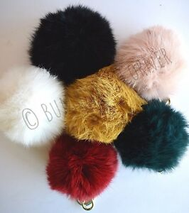 FURLA  NUVOLA  Bubble PomPom Furry Charm EUROPEAN RABBIT FUR HandBag ... 3afc17319ac8