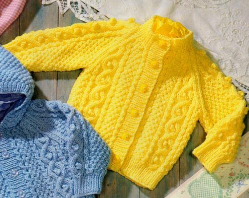 """24/"""" Aran Baby Jackets Hood Collar Round Raglan  Knitting Pattern 18/"""""""