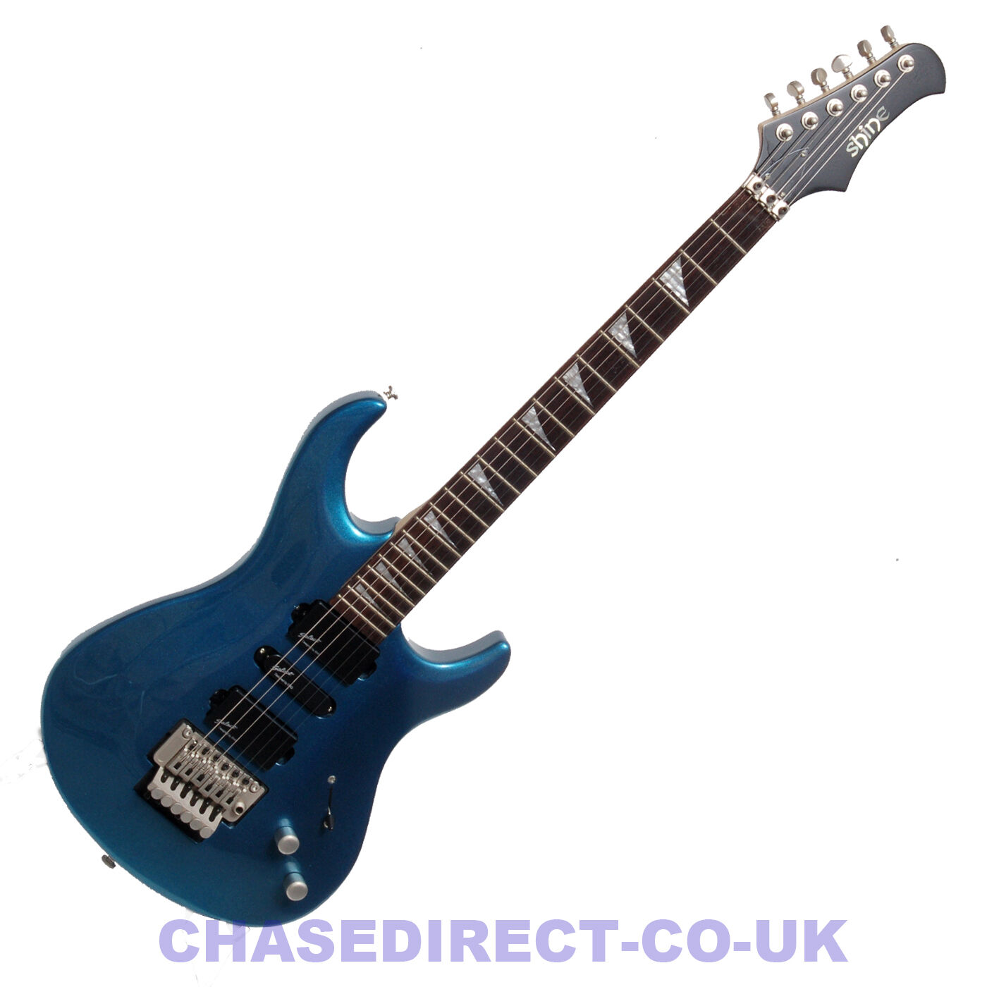 SHINE Electric Guitar SIL405MB Floyd Rose Tremolo Metallic Blau Grover Tuners s