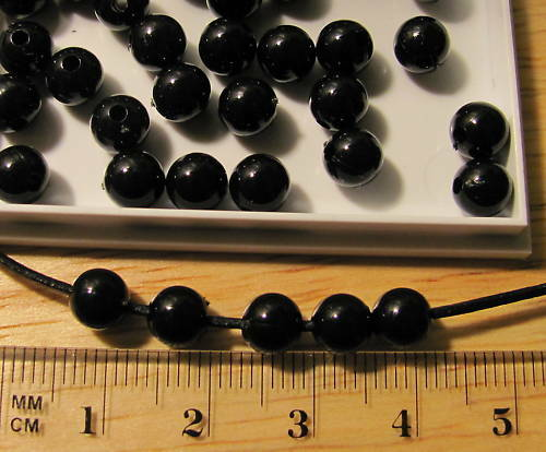 125 opaque black round smooth round plastic acrylic beads 6mm