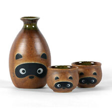 Set of 3 PCS. Japanese Porcelain Sake Bottle & Cups Tanuki Raccoon Made in Japan