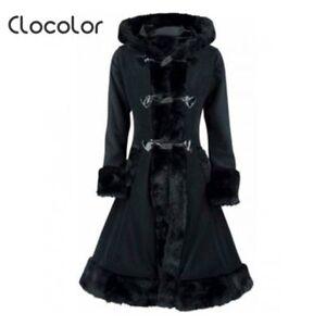Clocolor Fuldærmet Vinteruld Hooded Black Efterårsvarm Coat Women rC1qwr