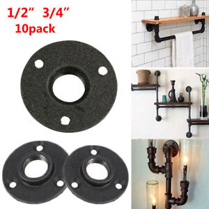 """10x 1/2"""" 3/4"""" BSP Malleable Iron Pipe Fittings Wall Mount Floor Flange UK Stock"""