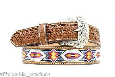NOCONA ~Leather w// BEADED Inlay~ WESTERN BELT Cowboy Native Southwest N2484408