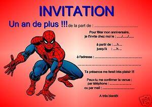Detalles De 5 Ou 12 Cartes Invitation Anniversaire Spiderman Réf 283