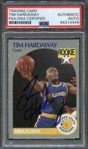 1990-91 NBA Hoops #113 Tim Hardaway Signed Card AUTO PSA Slabbed RC
