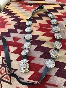 Good-Vintage-Signed-AC-Sterling-Silver-Navajo-Southwestern-Concho-Concha-Belt