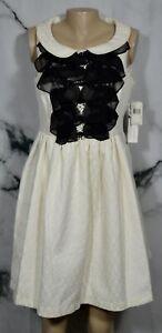 KENSIE-DRESSES-NEW-NWT-Bone-Black-Ruffle-Front-Dress-12-Sleeveless-Lined