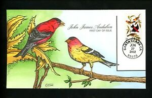US-FDC-3650-Collins-HP-Hand-Painted-2002-Santa-Clara-CA-John-Audubon-Birds
