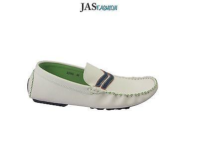 Para Hombre Smart Blanco Mocasines Slip On conducción Barco Zapatos Casual Mocasines Reino Unido 6-12
