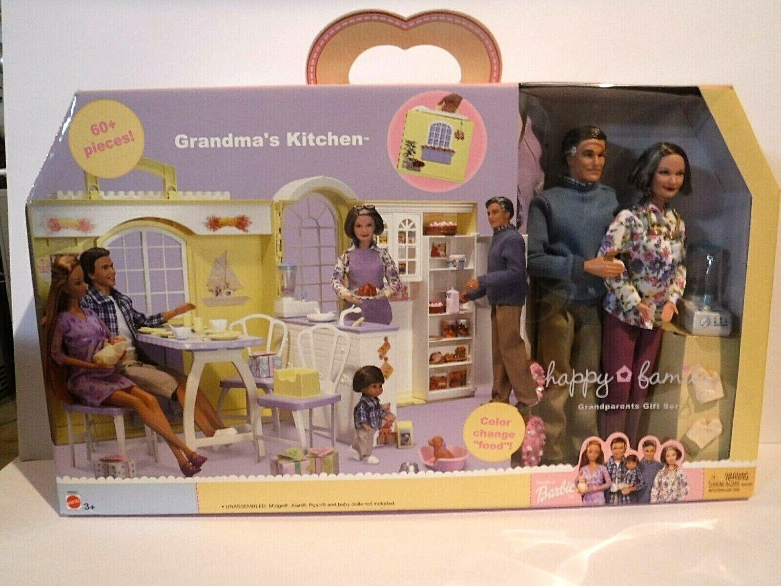 Nueva familia feliz Cocina De La Abuela-abuelos Conjunto de Regalo -2003 - Barbie-mnrfb