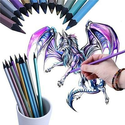 Fashion 12 Colors Metallic Colored Pencils Drawing Art Supplies Gift 6a