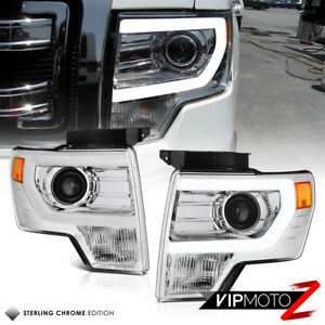2014 F150 Headlights >> Details About Chrome 2009 2014 Ford F150 Plasma Led Tube Projector Headlights Left Right Set