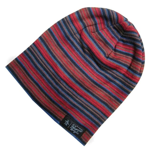 ORIGINAL PENGUIN Mens Boreal Red Multi Striped Beanie Hat One Size - BNWT 806fcdfe720