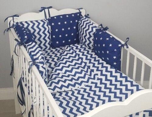 8 pc pour bébé//Lit bébé Ensembles De Literie Oreiller Anti-Chocs cas bleu marine chevron étoiles bleu