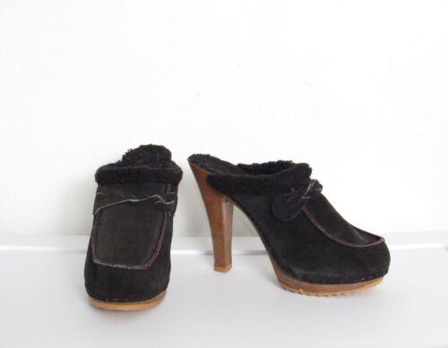 Vintage 70s Black Platform Mules / Black Suede & S