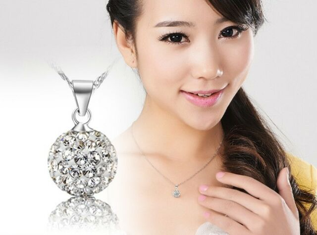 925 Silver Plated Crystal Rhinestone Necklace Pendant White Top Sale Present T