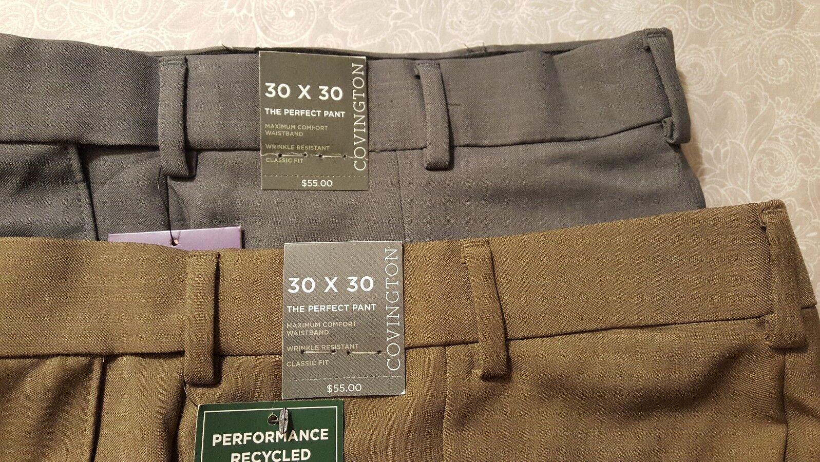 Convington 2 PAIRS The Perfect Pant Classic Fit Men's Dress Pants SZ 30X30