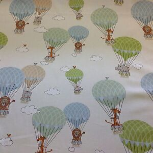 Image Is Loading Fryetts Zoo Animals Hot Air Balloons Cotton Fabric