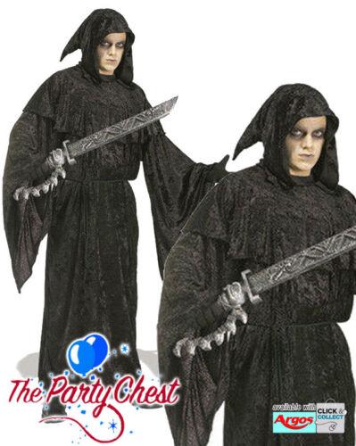 DARK Salvezza Velluto Con Cappuccio Halloween Accappatoio adulto Spaventoso Grim Reaper Robe 16705