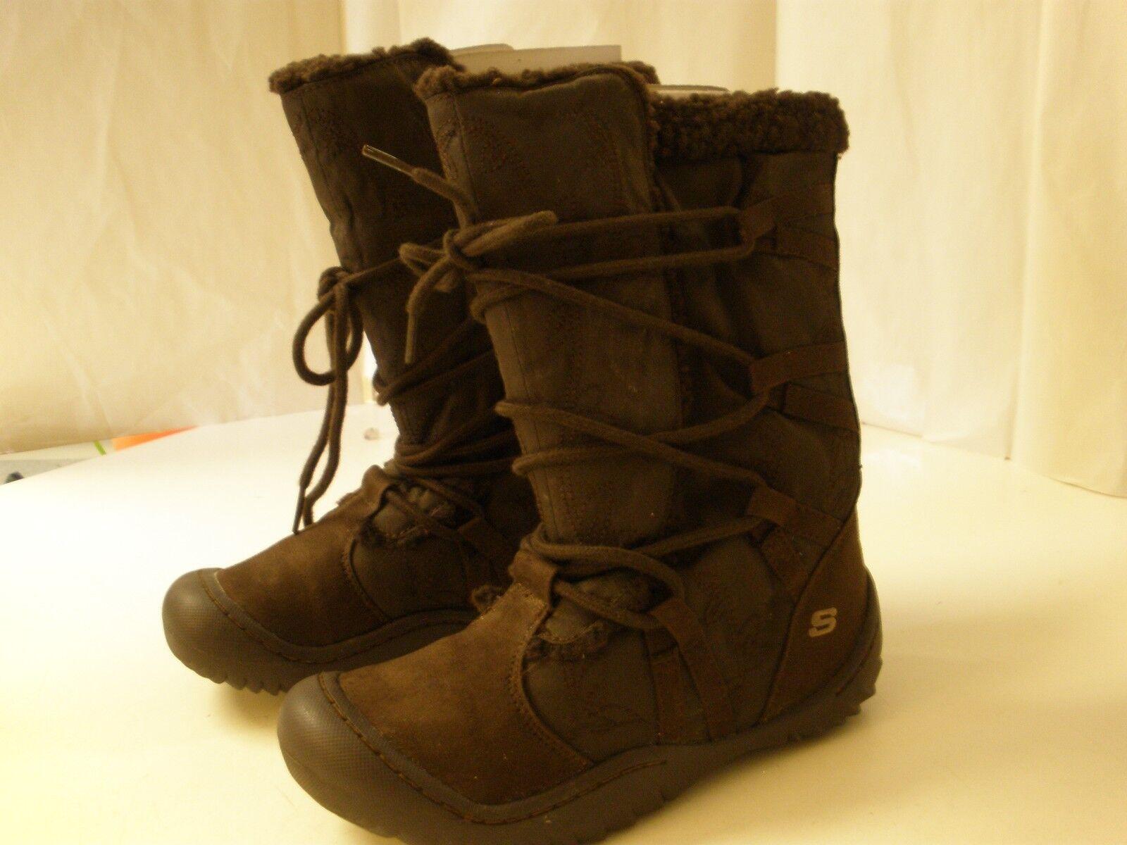 Skechers Chocolate Brown Suede Look Boot 6 B New Lined Tie