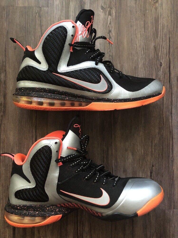 Nike LeBron 9 Bright Mango Size 10.5 Shoes Basketball Pink Black Silver