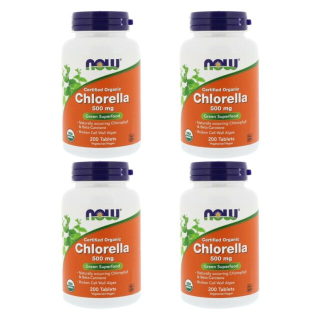 4X NOW FOODS CHLORELLA FOOD HEALTHY SUPPORT DAILY BODY CARE SUPPLEMENT DIETARY