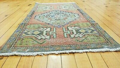 """Antiques 1'8'' X 3'2"""" Muted Dye Tribal Rug Primitive Antique 1900-1930's,wool Pile"""