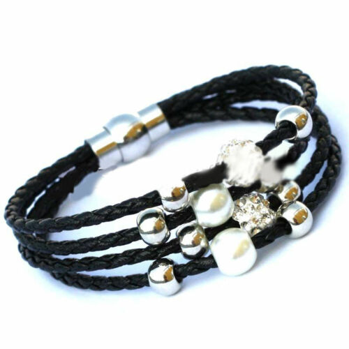 Men Black Genuine Leather Silver Stainless Steel Cuff Bracelet Bangle Jewellery