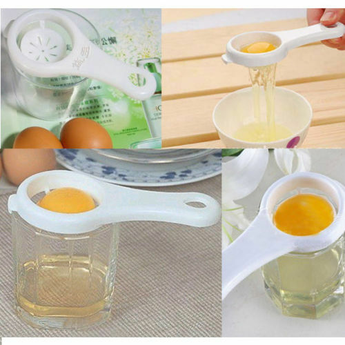 2 Pcs White Egg Seperator Separator Kitchen Cooking Gadget Sieve Tool Plastic WB