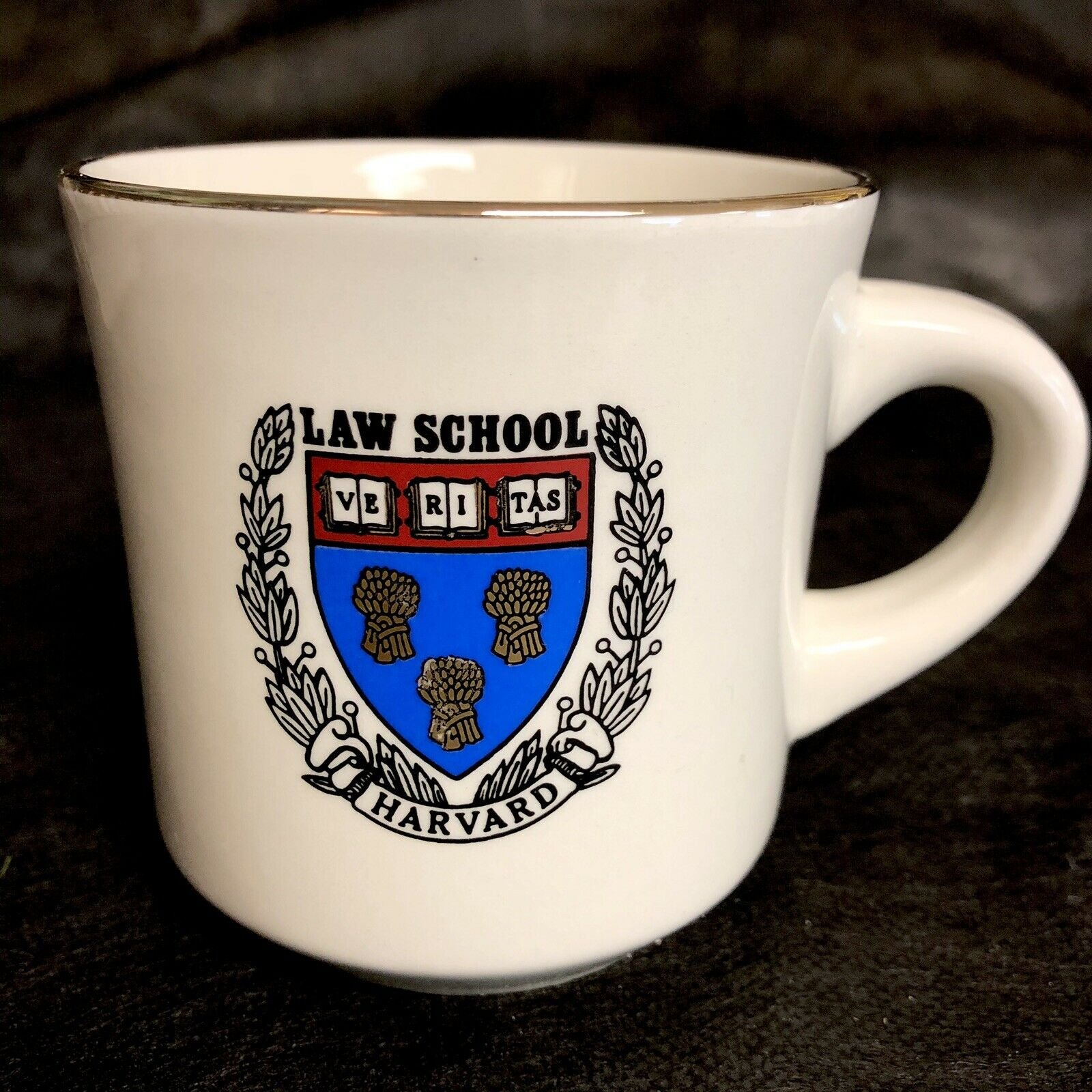 Harvard Law School Coffee Cup Mug 8oz VERITAS Vtg Ceramic Gold Rim 2