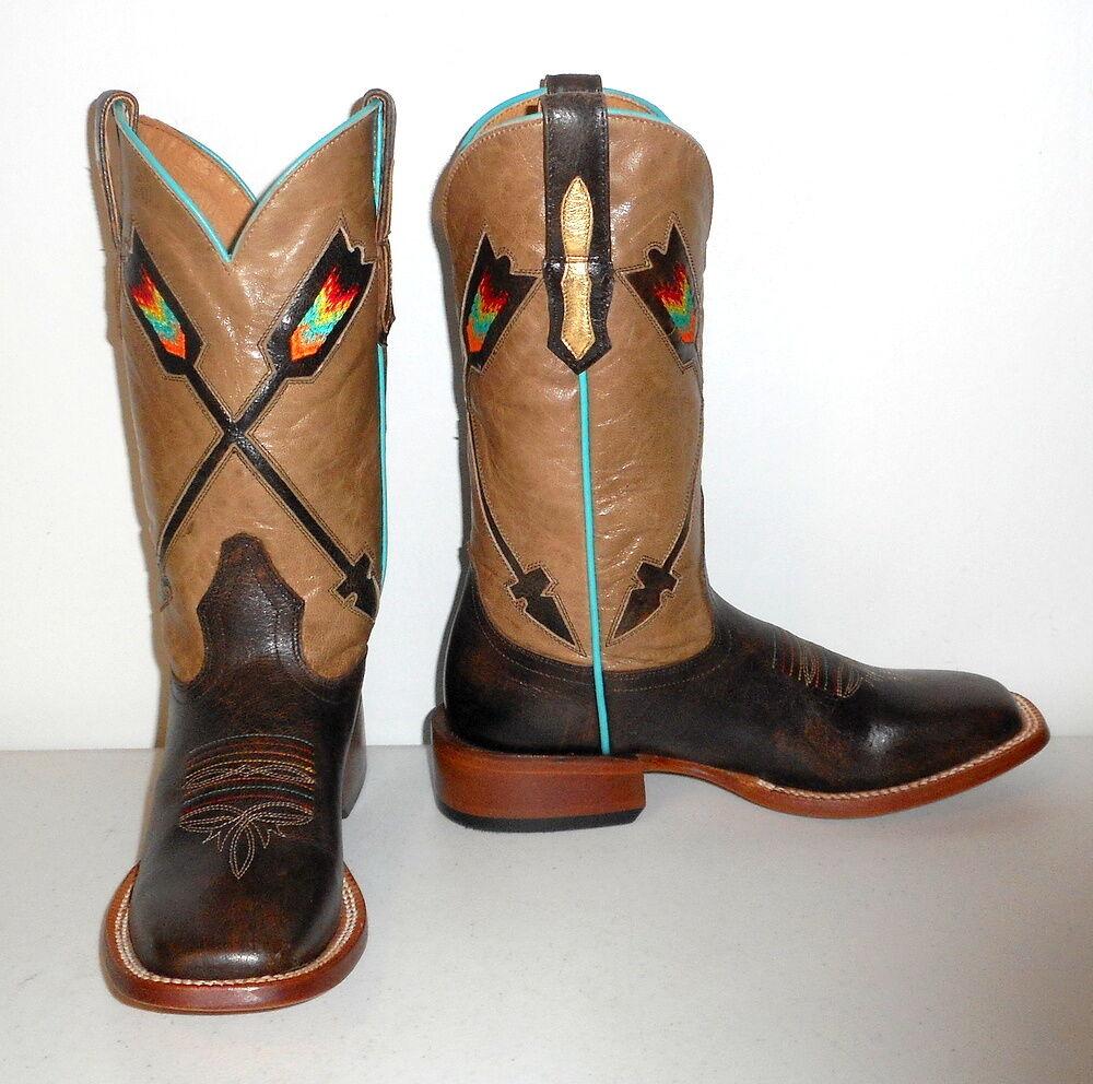 Rainbow Arrow Cowboy bottes Tan marron or Cowgirl Turquoise 5 B Johnny Ringo