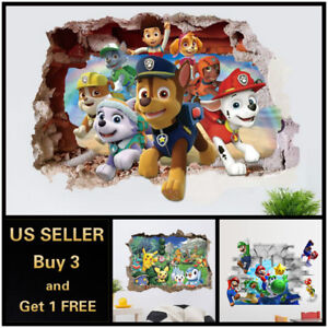Details About Us 3d Wall Stickers Pokemon Mario Kids Cartoon Room Decal Wallpaper Removable