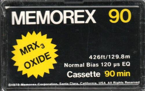 MEMOREX MRX3 OXIDE 90 NORMAL POSITION TYPE I BLANK AUDIO CASSETTE 1978
