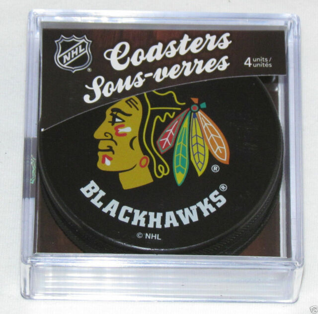 CHICAGO BLACKHAWKS TEAM LOGO 4 COASTERS SET NEW Made from Actual Puck NHL