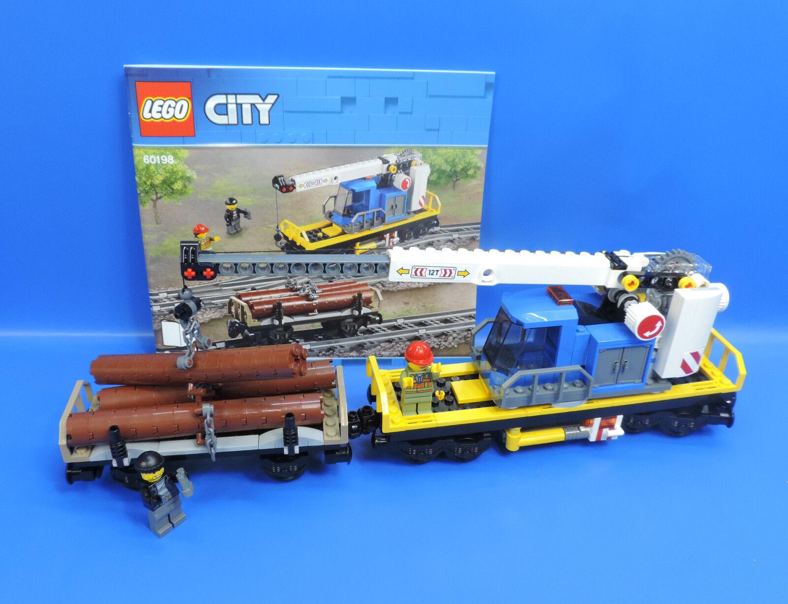 LEGO ® CITY FERROVIA 60198 rotante gru vagone e vagone in Legno + 2 personaggi
