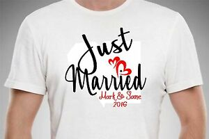 a9346355adea7 Image is loading PERSONALIZED-JUST-MARRIED-HONEYMOON-T-SHIRT-CUSTOM-COUPLE-
