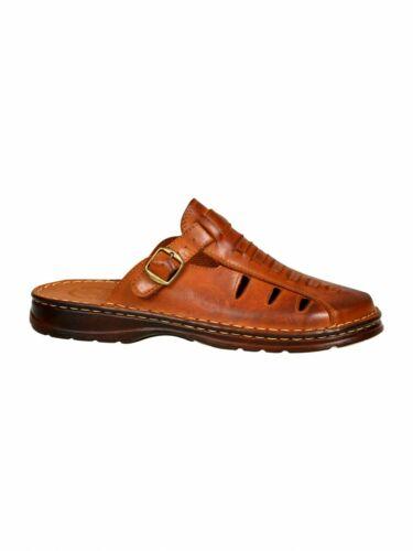 Homme Cuir Naturel Confort curseurs Sandales Taille UK 7 8 9 10 11801//2