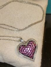 Ross Simons Sterling silver heart Pave pretty in Pink Sapphire Pendant necklace
