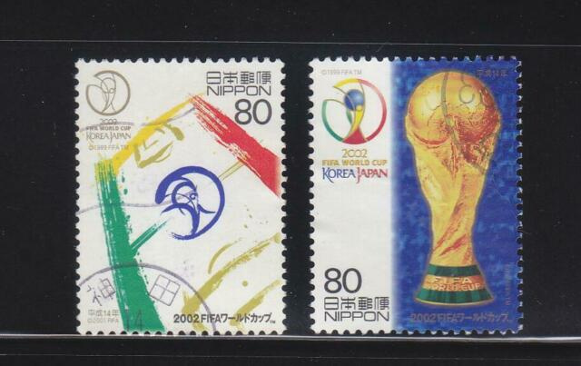 JAPAN 2002 FIFA WORLD CUP KOREA-JAPAN CHAMPIONSHIPS COMP. SET OF 2 STAMPS USED
