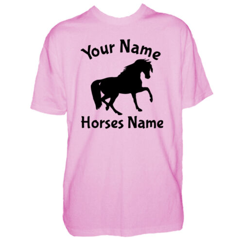 Childrens Custom Horse Tshirt Personalised Horses Pony Name Kid Boy Girl T Shirt