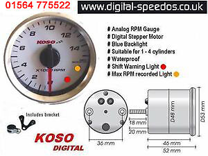 Details about Koso D48 Rev RPM Gauge Motorcycle 1, 2, 3 or 4 cylinders, 4  stroke, 2 stroke, W