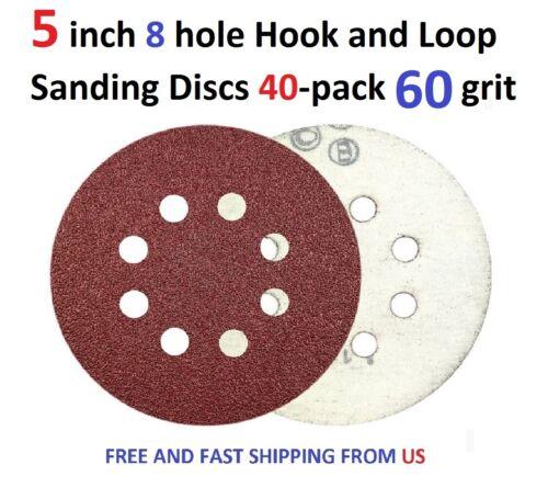 5 inch 8 hole Hook and Loop Sanding Discs 40-pack 60 grit