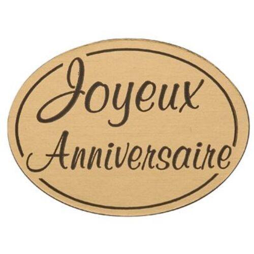 lot 50 etiquettes stickers jaune or joyeux anniversaire  neuf