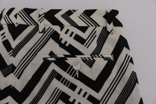 W34 NEW $740 DOLCE /& GABBANA Shorts White Black Striped Cotton Linen IT48
