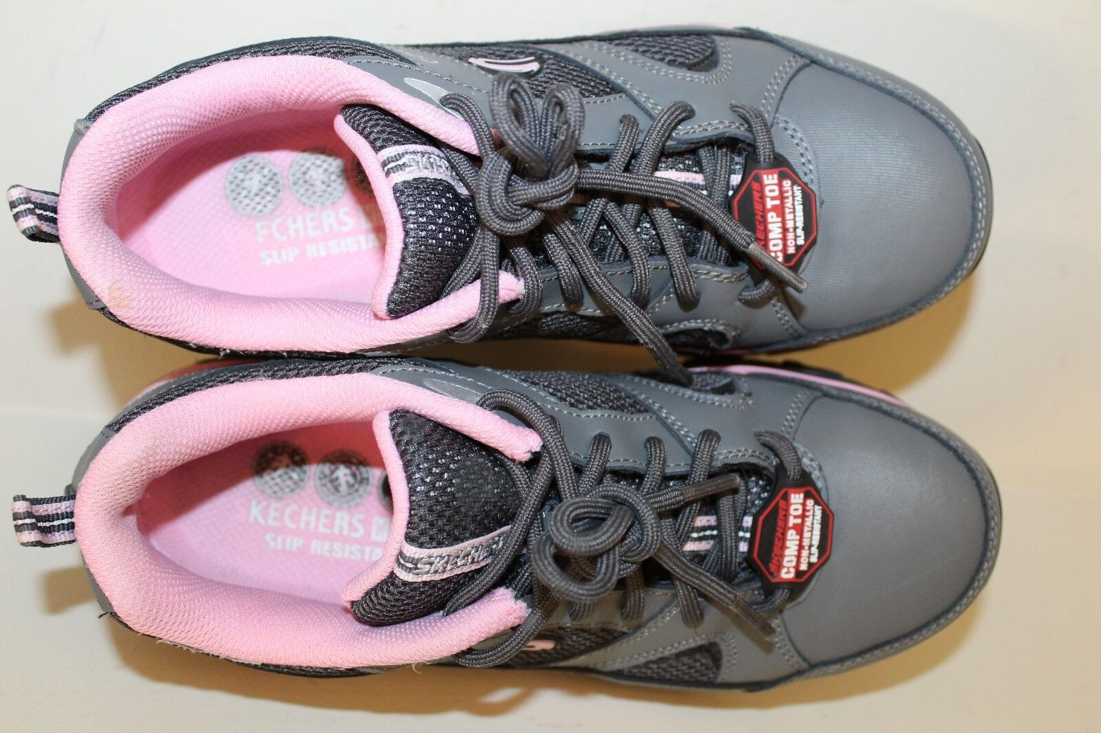 Skechers Damenschuhe Work Work Work Schuhes Sz 8 Work Gray / Pink Leder Comp Toe Oxfords 7b1882