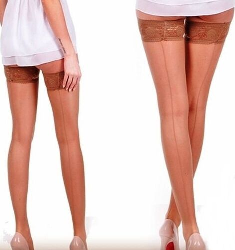 Vintage Stockings with Rear Seam in Natural Smooth Lace S-XL